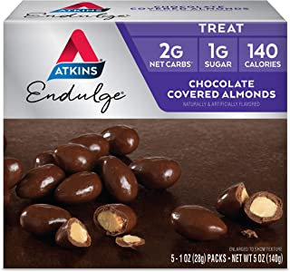 Atkins Endulge Chocolate Covered Almonds. Rich Chocolate Taste in a Low Net Carb, Low Calorie Snack. 1 ounce per Pack (10 Packs)