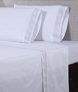 Affluence 600 Thread Count 100% Cotton Embroidered Sheet Sets - Greek Key Pattern (King Sheet Set, White/Purple Grey)
