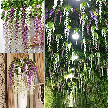 12 Pack 3.6 Feet/Piece Artificial Fake Wisteria Vine Ratta Hanging Garland Silk Flowers String Home Party Wedding Decor (Whit