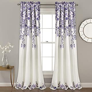 "Lush Decor Tanisha Curtains | Room Darkening Floral Vine Print Design Window Panel Set (Pair), 84"" x 52"" -Purple and Gray, 84"