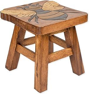 Sea Island Imports Bumble Bee Hand Carved Acacia Hardwood Decorative Short Stool