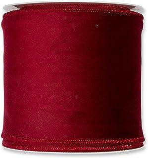 5,1/cm FloristryWarehouse Bande Vin Rouge de No/ël en velours Tissu ruban 50/mm de large sur rouleau de 8/m Dor/é filaire Edge