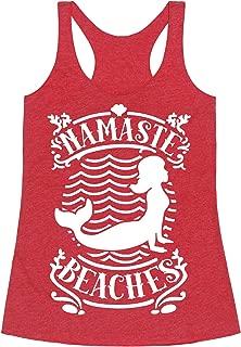Namaste Beaches Heathered Black Women's Racerback Tank