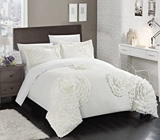 Chic Home 3 Piece Birdy Floral and Rose Pleated Etched Applique Duvet Cover Set, Queen, White