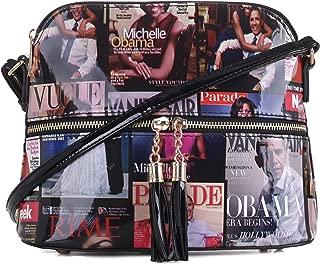 Glossy Magazine Cover Lightweight Medium Dome Crossbody Bag Michelle Obama Purse