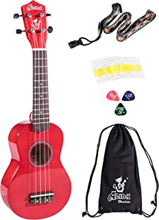 Alida Soprano Ukulele For Beginner Red Color included Carrying Bag, Strap, Spare Strings and Picks