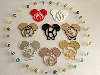 Personalized Mickey Mouse Minnie Mouse Initial Letters Hanging Ornament Monogram Customized Disney First Birthday Gift for Kids First Christmas Baubles Tree Decorations Mouse Ears Home Decor 1st Xmas