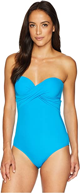 Jetset Wrap Cross Over Drape Bandeau One-Piece