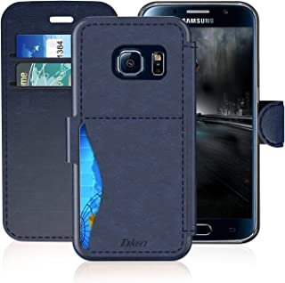 Samsung Galaxy S 6 Leather Wallet Case with Credit Cards Slot and Metal Magnetic, TAKEN Galaxy S6 Active Plastic Flip Case/Cover, Vintage and Fashion, Durable and Shockproof Holster (Blue) 2015