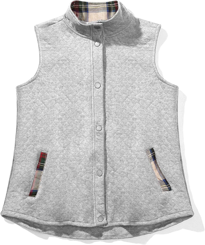 Women's Sleeveless Quilted Vest & Plaid Vest Stand Collar Lightweight Sleeveless Fall Gilet Coat
