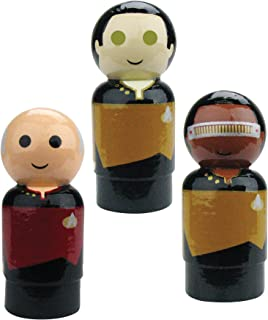 Bif Bang Pow! Star Trek: TNG Set of 3 Picard, Data, La Forge Pin Mate Wooden Figure