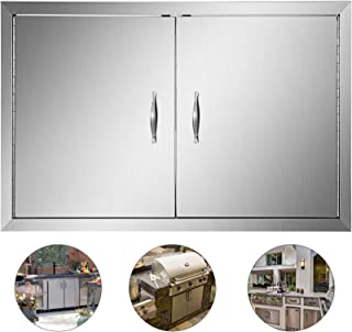 Mophorn 36 Inch Double Stainless Door Flush Mount BBQ Island Double Walled Door Commercial 304 Brushed Stainless Steel for Outdoor Kitchen