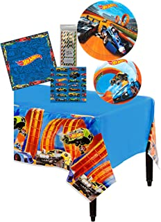 Amscan Hot Wheels Birthday Party Tableware Kit Napkins, Plates, Tablecover Bundle, 16 Guests