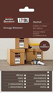 AVERY Zweckform 62012 Living Umzugs Etiketten 97 x 148 mm, 3 Farben 6 Stück weiß