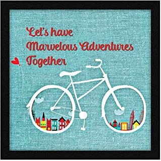 ArtX Paper Let's Have Marvelous Adventures Together Motivational Quote, Framed Wall Art Painting, Multicolor, Vintage, 13 ...