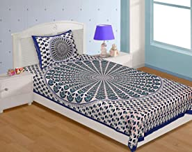 UNIBLISS 100% Cotton Rajasthani Jaipuri Traditional Single Bed Sheet with One Pillow Cover - Blue