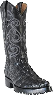 Hand Made Men's New Crocodile Alligator Tail Design Biker Cowboy Western Boots J-Toe Black