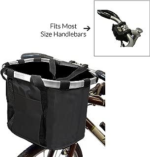 MyGift Multi Purpose Black Bicycle Basket Carrier/Car Organizer with Drawstring Closure & Top Handles
