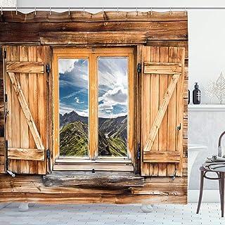 Rustikal Schmaler Duschvorhang Holztür Log House