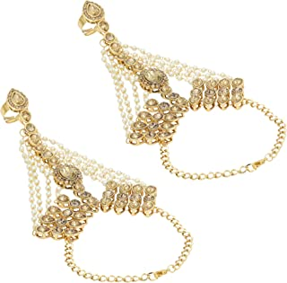 Jwellmart Indian Gold Polish CZ Faux Pearl Partywear Bridal Wedding Hath Panja/Hand Ornament for Women and Girls (2 pc Set)