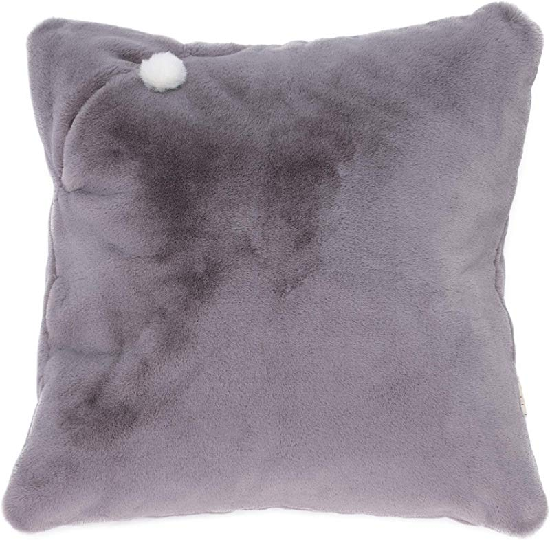 Mimish Storage X Large Floor Pillow Storage For Books Remotes Tablets And More Rabbit Faux Fur Slate