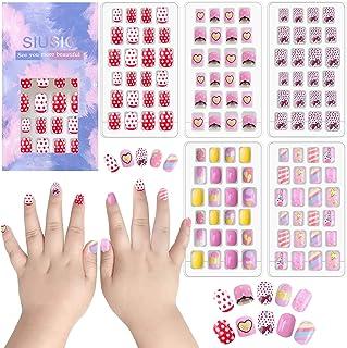 SIUSIO 120pcs Children Nails Press on Pre-glue Full Cover Glitter Gradient Color Rainbow Short False Nail Kits for Kids- P...