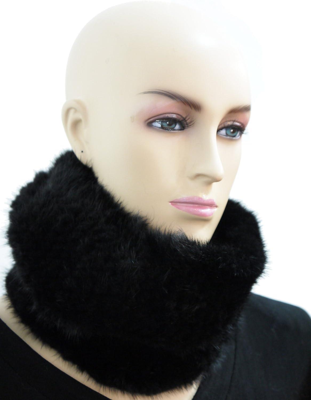 100% Mink Knitted Black Neck warmer