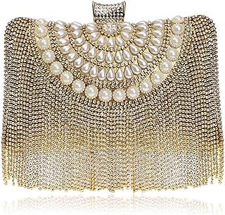 GLJJQMY Dinner Bag Ladies Tassel Clutch Bag Fashion Mini Evening Dress Bride Banquet Evening Package Evening Bags (Color : Gold, Size : 19x15x6cm)