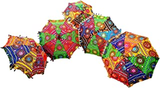 GANESHAM HANDICRAFT- Indian Decorative Handmade Designer Cotton Fashion Multi Colored Beach Umbrella UV Protection Umbrella , Sun Umbrella , Embroidery Boho Parasol Indian Wedding Umbrellas Parasol