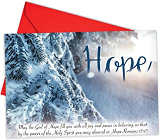 12 'Holiday Devotions Hope' Boxed Christmas Cards w/Envelopes 4.63 x 6.75 inch, Set of Snowy Landscapes and Scripture Verses Cards, Winter Scenes and Inspiring Bible Quotes Holiday Notes B6661BXSG