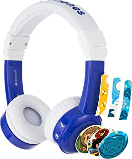 Buddyphones Inflight 3-Step Volume Limiting Kids Headphones   Durable, Comfortable & Customizable   Built in Headphone Splitter and in Line Mic   Perfect for Airplane Use   Blue