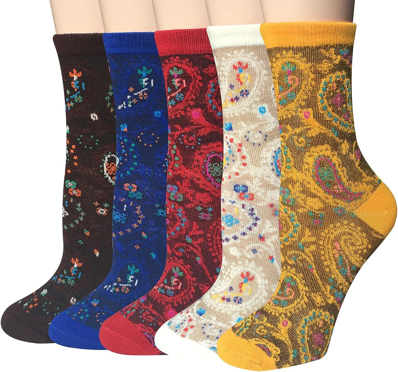 Chalier Womens Funny Socks Vintage Cotton Crew Patterned Socks Novelty Fun Socks for Women