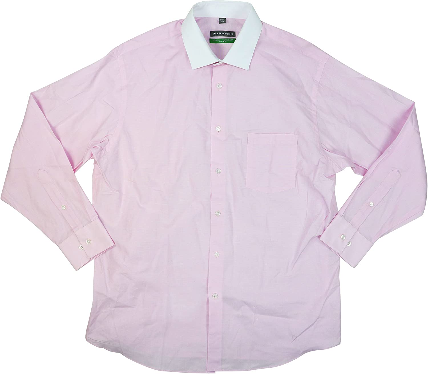 Geoffrey Beene Classic Fit Wrinkle Free Long Sleeve Button Down Shirt (Pink Mist, 17.5 36-37)