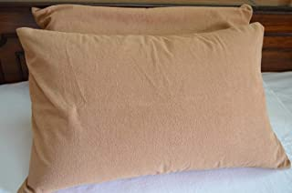 KANUSHI Industries Linen Cotton Waterproof and Dustproof Pillow Protector (Brown; 18 x 28 Inch)