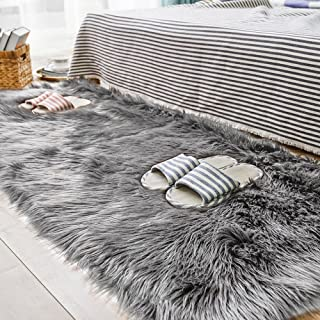 Carvapet Luxury Soft Faux Sheepskin Fur Area Rugs for Bedside Floor Mat Plush Sofa Cover Seat Pad for Bedroom, 2.3ft x 5f...
