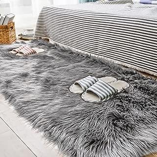 Carvapet Shaggy Soft Faux Sheepskin Fur Area Rugs Floor Mat Luxury Bedside Carpet for Bedroom Living Room, 3ft x 5ft,Grey