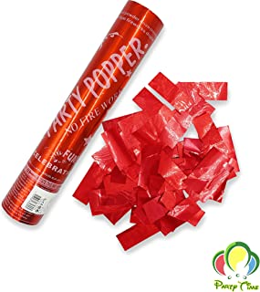 PARTY TIME - 1 Piece Red Party Supplies - Confetti Sticks Cannons with Metallic Foil Papers inside for All Events and Occa...