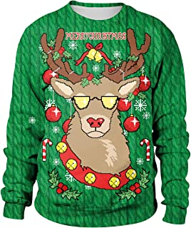e8c433e0aab18 Pull Noel Homme Imprimé Pulls De Noël Femme Unisexe Sweat Shirt Noel Moche  Oversize Pull Over