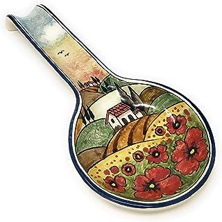 CERAMICHE D'ARTE PARRINI- Ceramica italiana artistica, posamestolo decorazione paesaggio papaveri, dipinto a mano, made in...