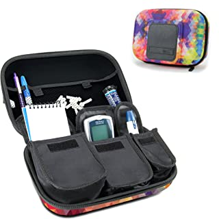 USA Gear Travel Medicine Organizer for Diabetic Supplies - Omnipod, Glucose Monitoring System, Syringes, Insulin Vials and Lancets - Compatible with ACCU-CHEK, Bayer Contour, TRUEtest - Geometric