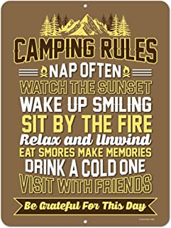 Honey Dew Gifts Funny Camping Signs, Camping Rules, 9 x 12 inch Novelty Tin Camper Decor