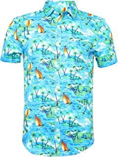 Mens Hawaiian Shirts Standard-Fit Cotton/Polyester Palm Tree Printed Beach Wear