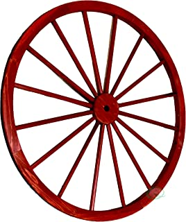 Gardenised Decorative Antique Red Wagon Garden Wheel - 42