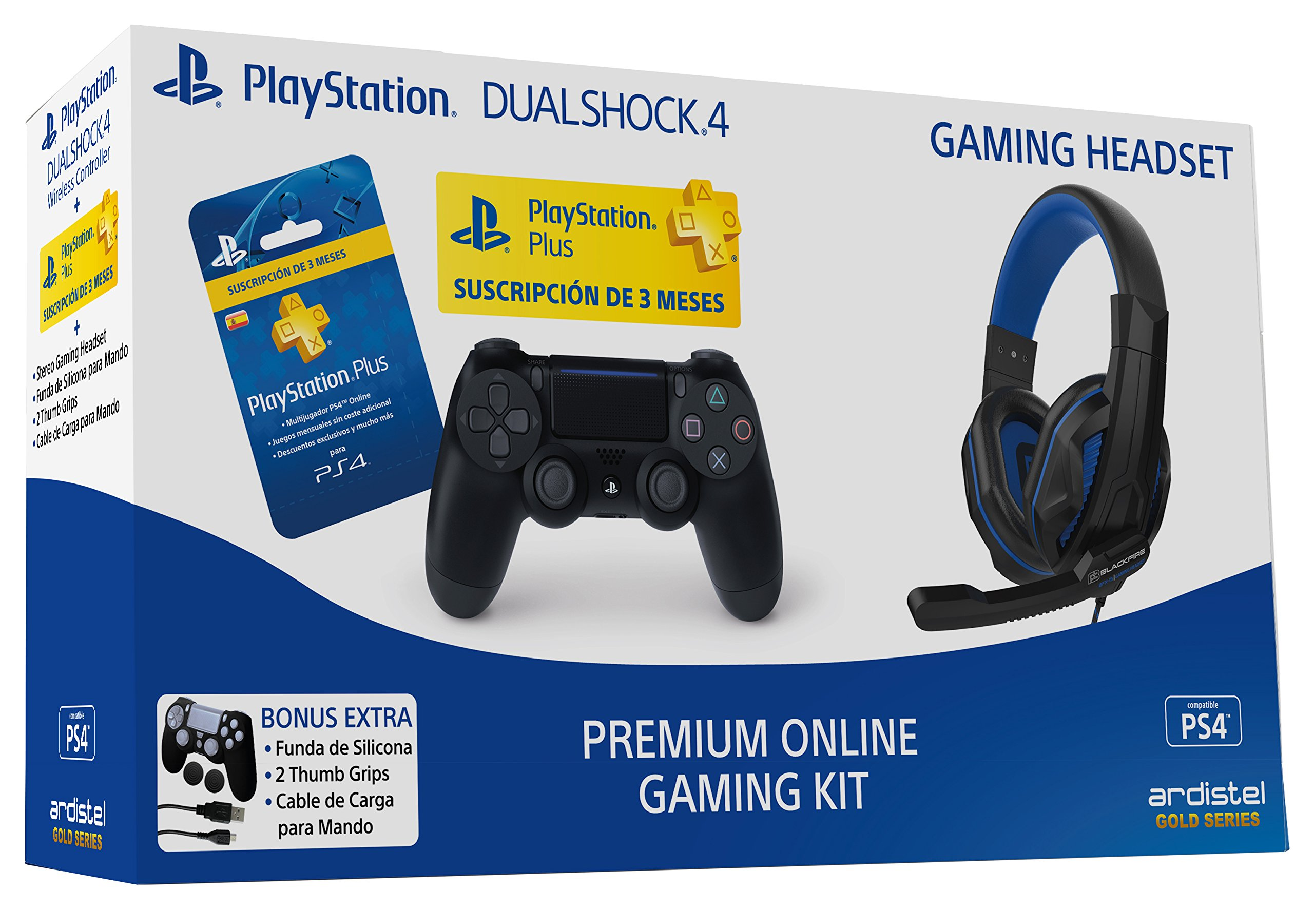 Ardistel - Premium Online Gaming Kit (PS4) - Mando Dualshock 4 V2 + PS Plus 3 meses + Auriculares + cable de carga + funda y grips: Amazon.es: Videojuegos