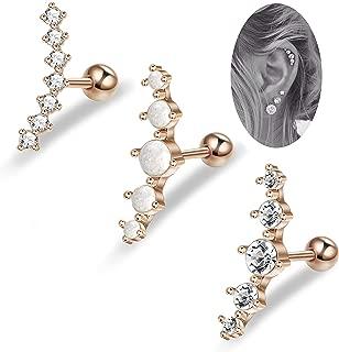 3Pcs 16G Cartilage Stud Earrings Women Girls Conch Helix Piercing Jewelry Set