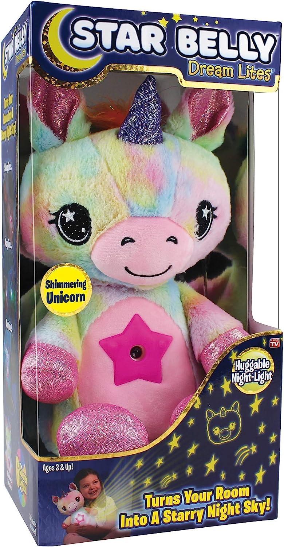 Ontel Star Belly Dream Lites, Stuffed Animal Night Light, Shimmering Rainbow Unicorn