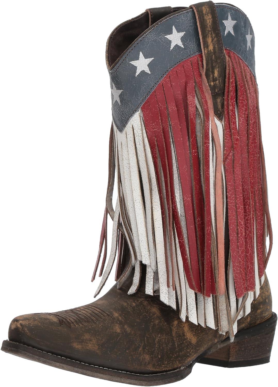 Roper Womens American Beauty Fringe Western Boot