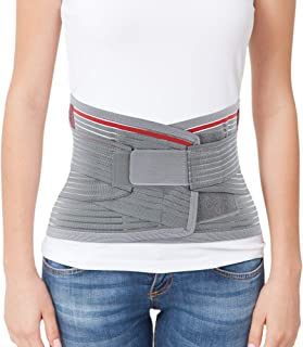 "Best ORTONYX Lumbar Support Belt Lumbosacral Back Brace – Ergonomic Design and Breathable Material - L/XXL (Waist 39.7""-47.6"") Gray/Red Review"