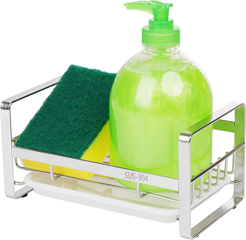 ZionTran Soap And Sponge Holder For Kitchen Sink 7 2 X 4 X 3 5 Inches Quality Stainless Steel Kitchen Counter Caddy Organizer Includes Soft Sponge