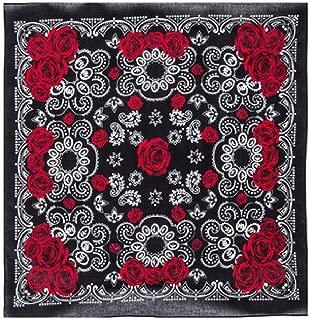Bandanna Black White Rose Rock Star ~ Wearable Art 100% Cotton - Scar
